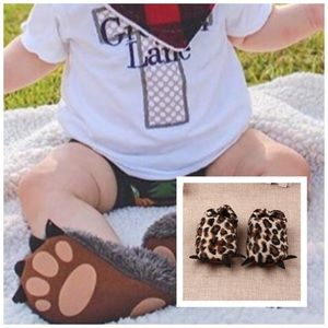 Other - NWT! Cheetah Print Furry Paw Animal Slippers